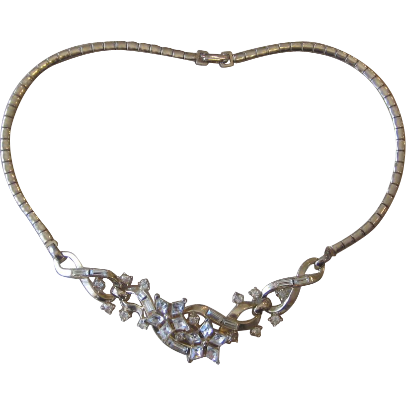 Trifari- Older Vintage Rhinestone Necklace