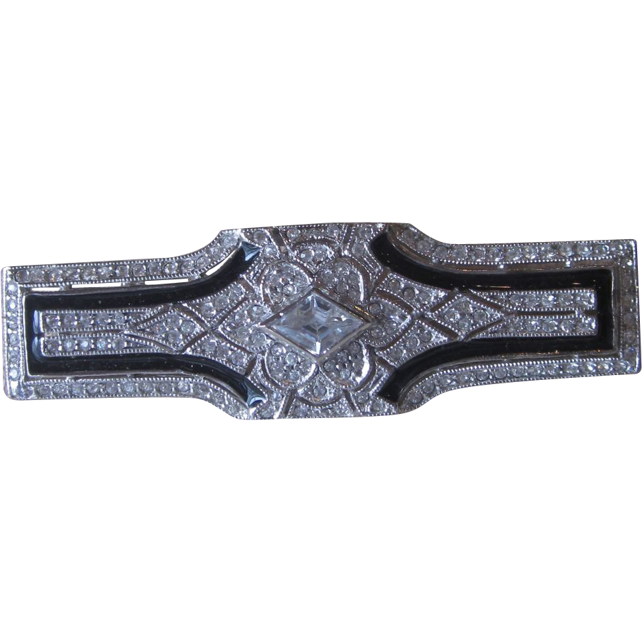 Sterling and Rhinestone Large Deco Revival Brooch