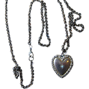 Victorian Large 36 inch Gold Filled Chain with Dated 1902 Heart Locket