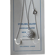 Sterling Necklace with Pendant Vintage Old Stock