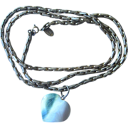 Miriam Haskell- Signed 30 inch Vintage Chain with stone heart