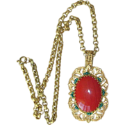 Miriam Haskell- Huge Pendant Signed Vintage Necklace