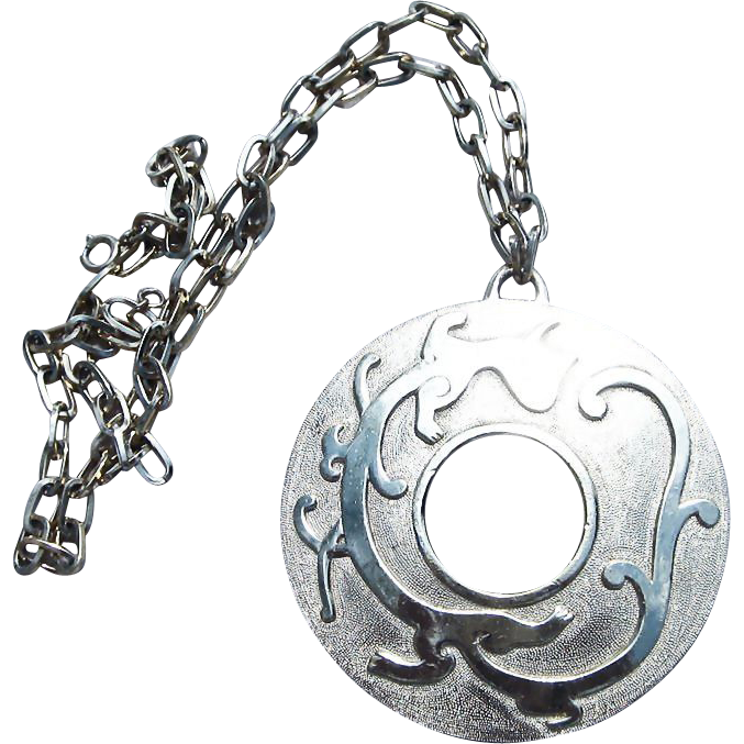 Trifari-Huge Serpent or Dragon Pendant Vintage Necklace