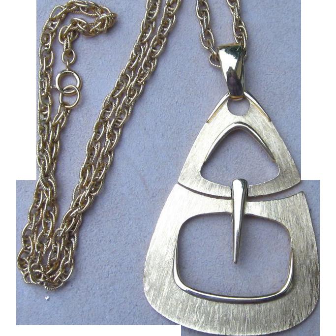 Trifari- Huge Status Pendant Vintage Signed Necklace