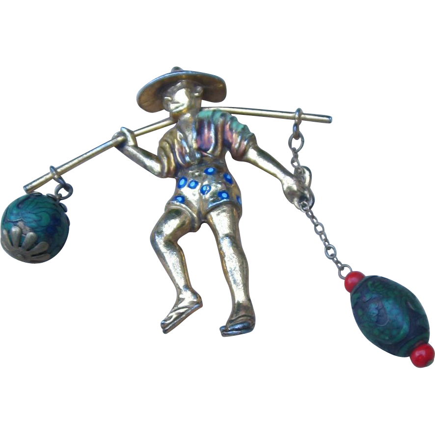 Famous Book Piece Figural Chinese Man Vintage Brooch