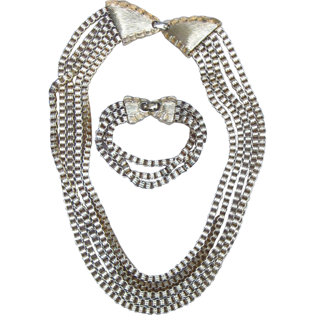 Monet-Runway Box Chain Chunky Vintage Signed Necklace and Bracelet