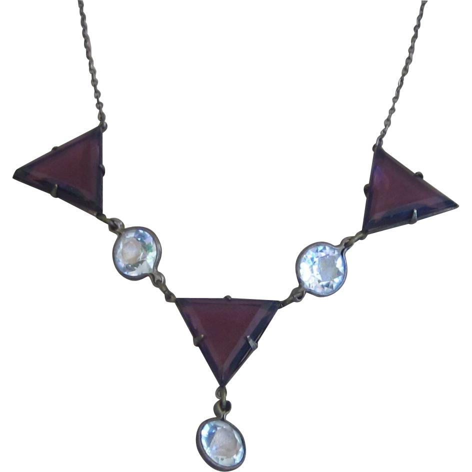 Sterling Czech Vintage Bezel Glass Vintage Necklace