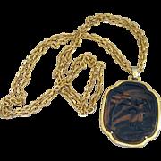 Trifari- Huge Vintage Signed Asian Pendant Necklace