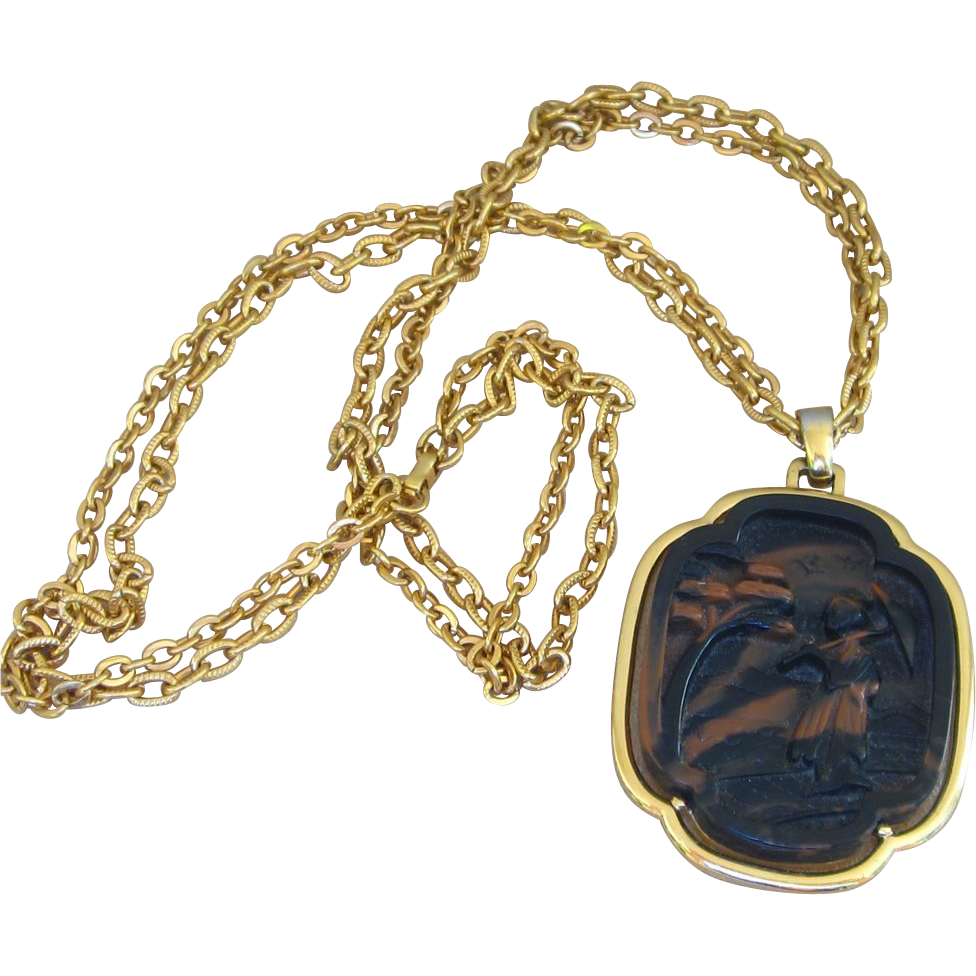 Trifari huge vintage signed asian pendant necklace from for Best place to sell gold jewelry in chicago
