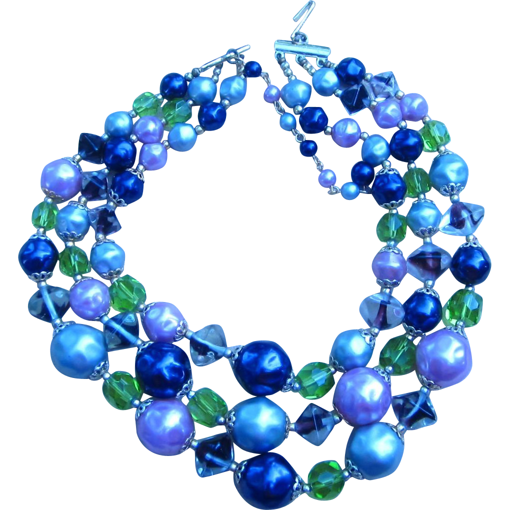 Vintage Multi-strand Signed Glass and Lucite Necklace