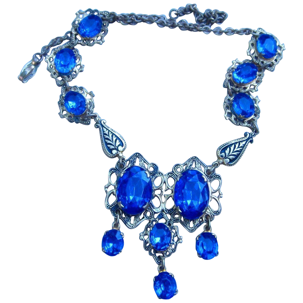 Czech Vintage Necklace with Bright Blue Stones