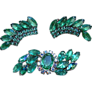 Large Rhinestone Brooch and Vintage Earrings
