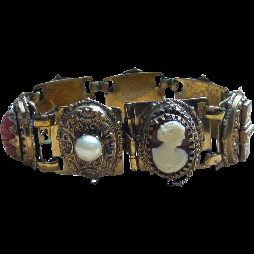 Victorian Revival Chunky Ornate Panel Bracelet