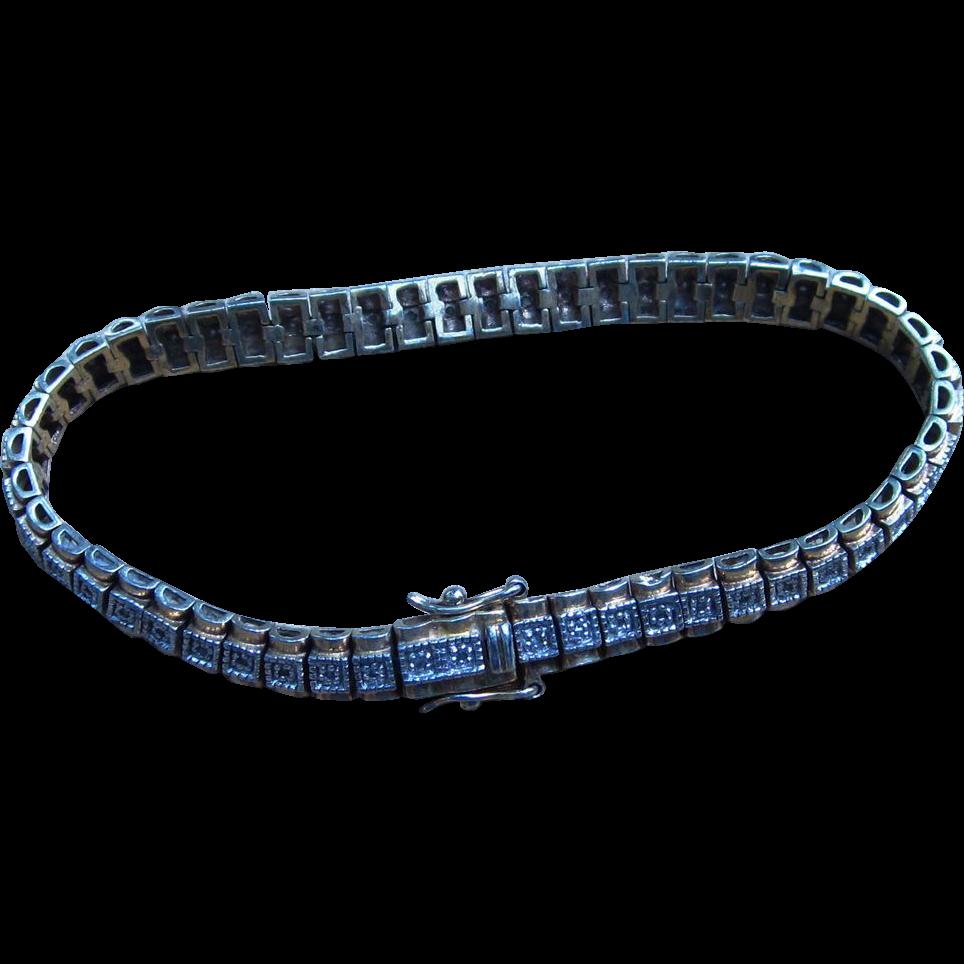 Sterling Vintage Line Bracelet Signed