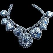 Sterling Heart Charm Art Nouveau Vintage Necklace 9 Charms