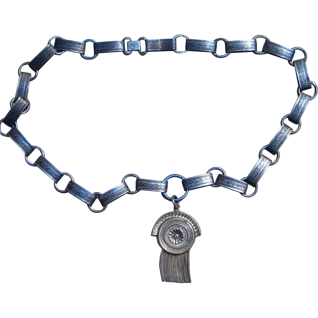 Old Ornate Chain with Unique Tassel Pendant