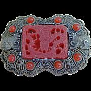 Vintage Asian Signed  Brooch Ornate