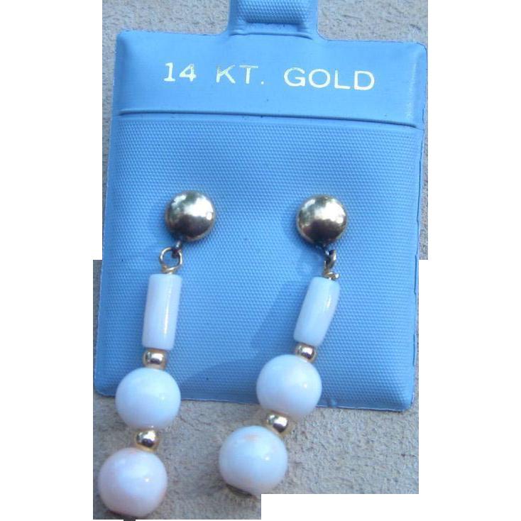Angel Skin Coral and 14k Gold Vintage Pierced Earrings