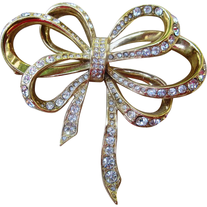 Kenneth Lane Vintage Rhinestone Bow Brooch