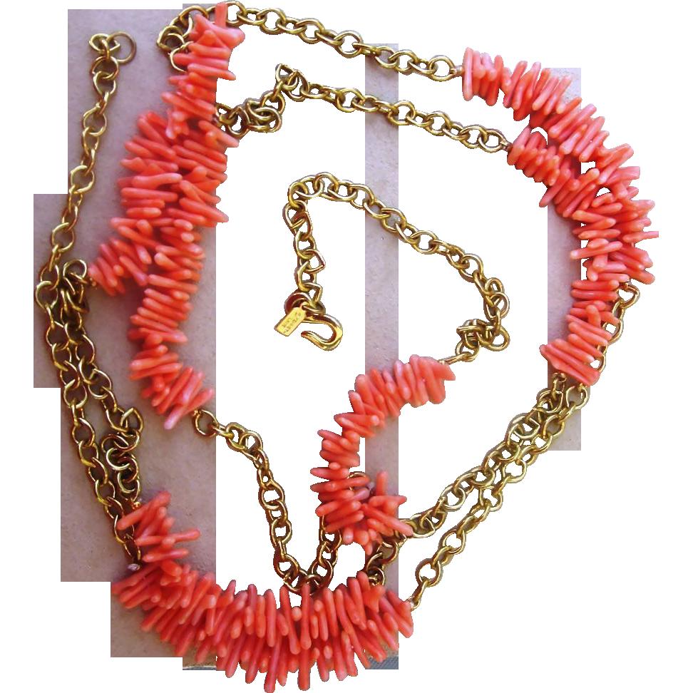 Kenneth Lane- Coral Vintage 60 Inch Vintage Sautoir Necklace