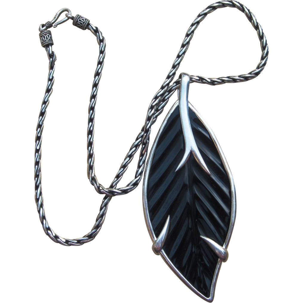 Stunning 4 Inch Leaf Pendant Sterling Vintage Necklace