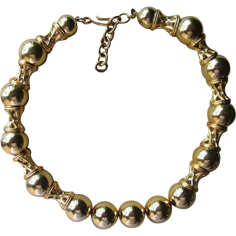 Monet Vintage Unique Shiny Gold Tone Runway Necklace