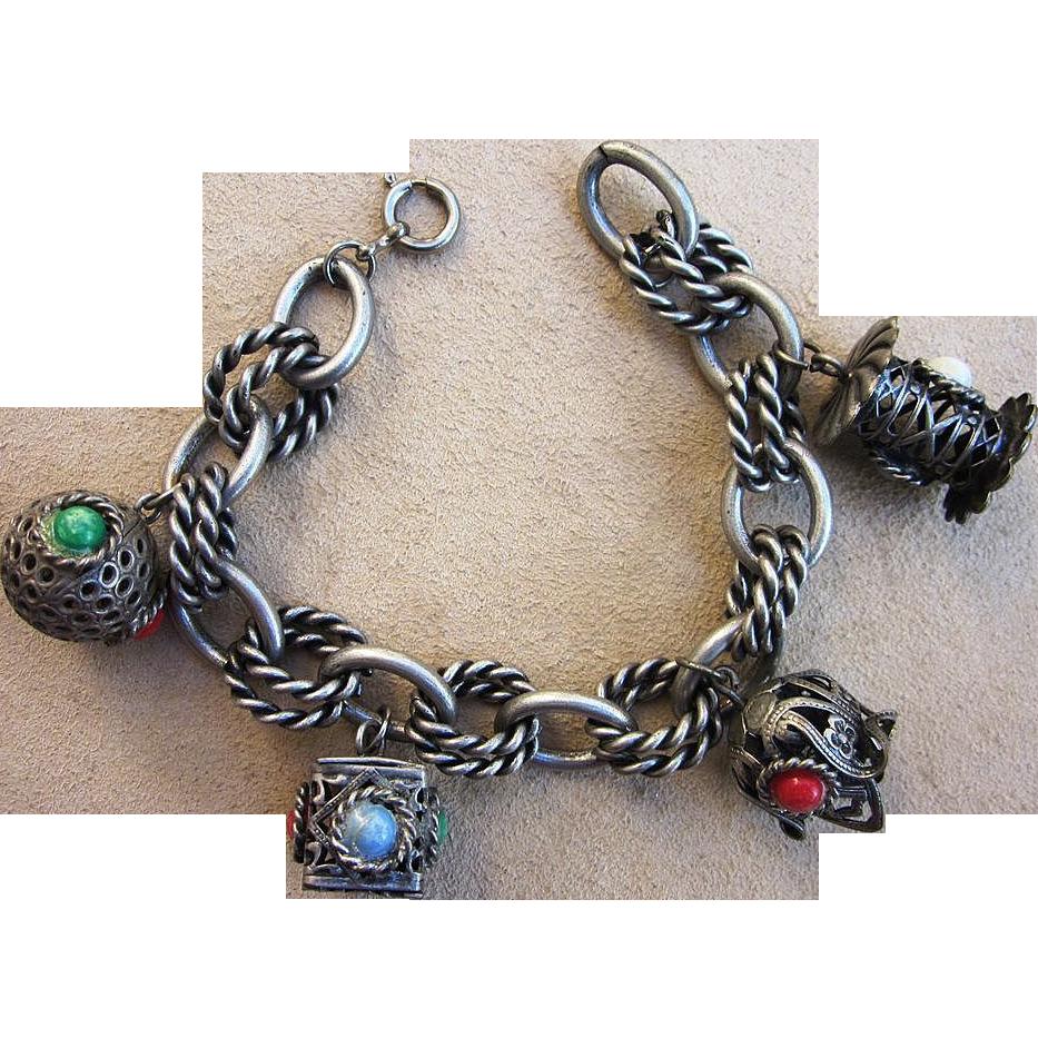 Vintage Etruscan Revival Charm Bracelet