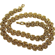 Napier Vintage Gold Tone Necklace with Unusual Link