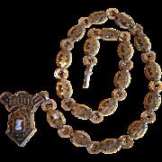 Victorian Book Chain Cameo Ornate Unique Necklace
