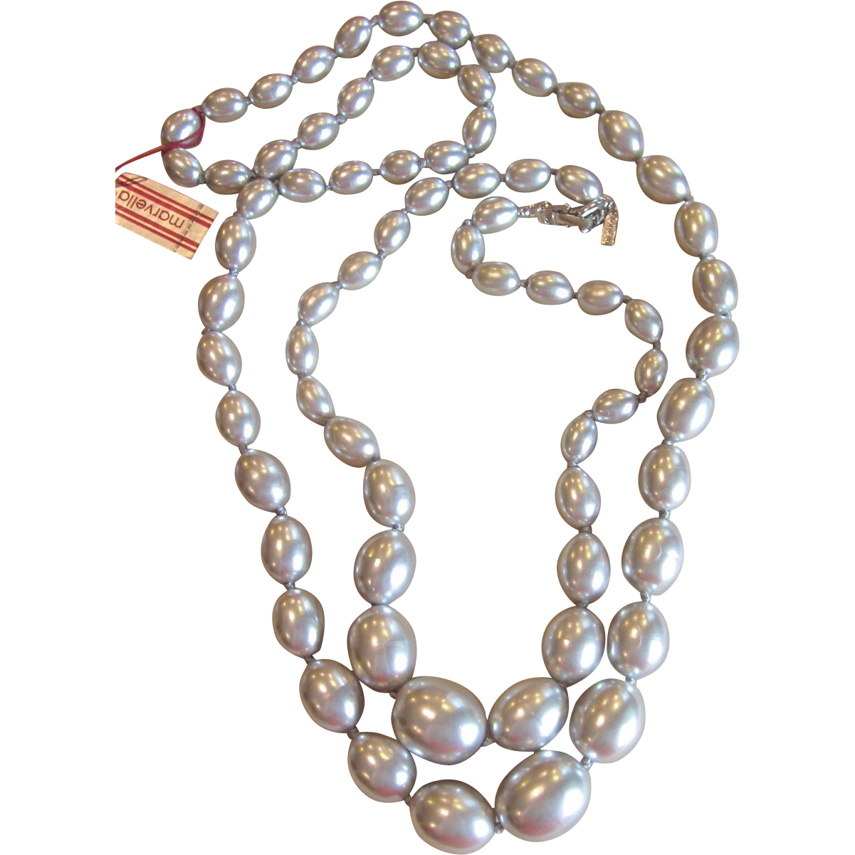 Marvella Two Vintage  Chunky Strands Faux Pearls in Silver Grey Old Stock