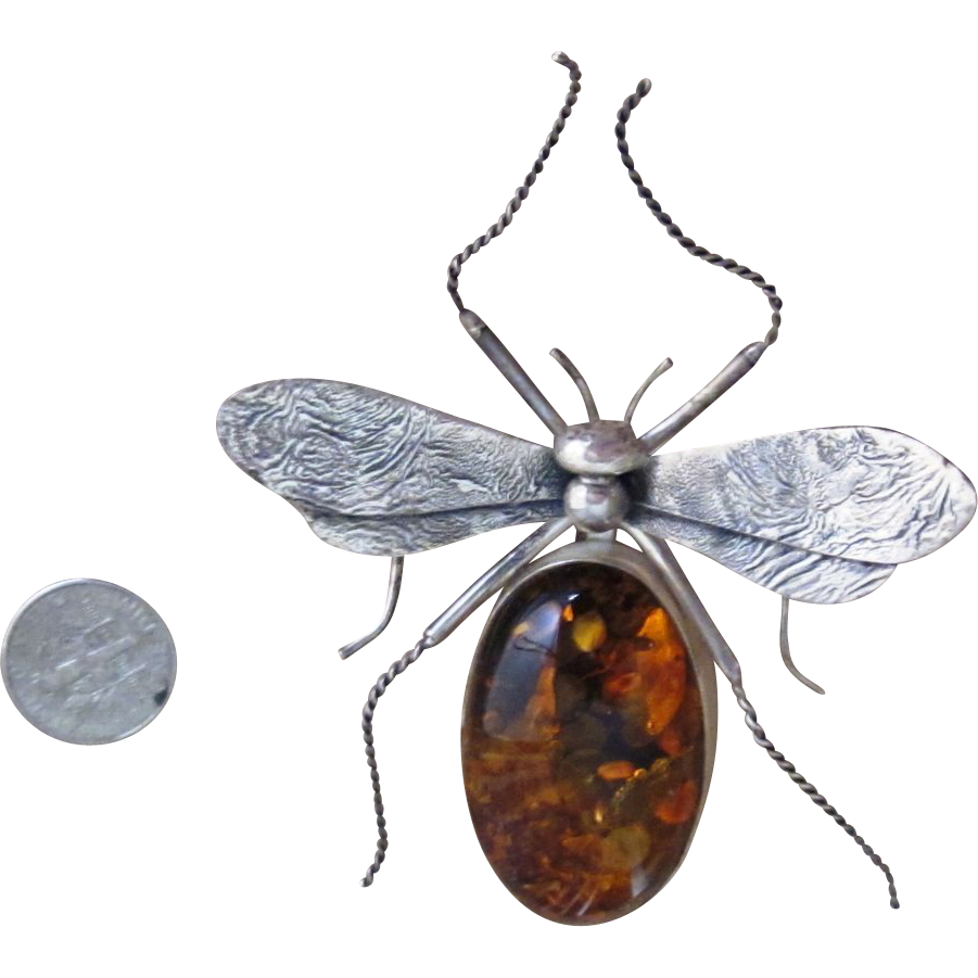 Extraordinary 3 1/2 inch Vintage Amber Sterling Bug Brooch