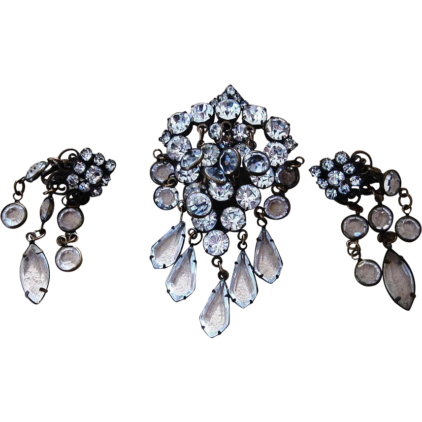 Hobe- Stunning Early Brooch or Pendant and Earrings Set
