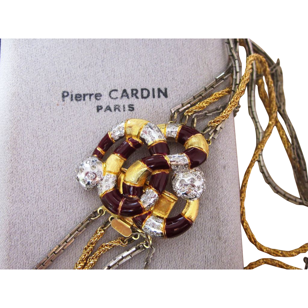 Pierre Cardin Paris Multi Strand Signed Couture Runway  Vintage Necklace