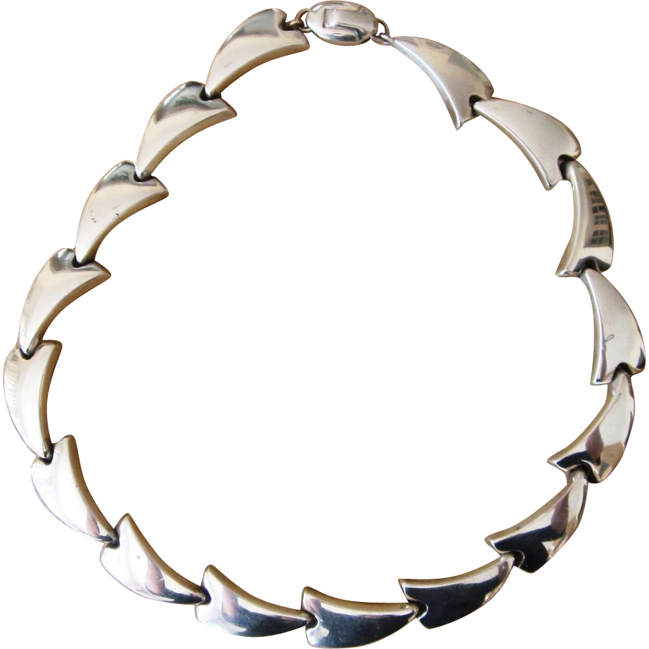 Bayanihan- Sterling Modernist Designer  Vintage Necklace