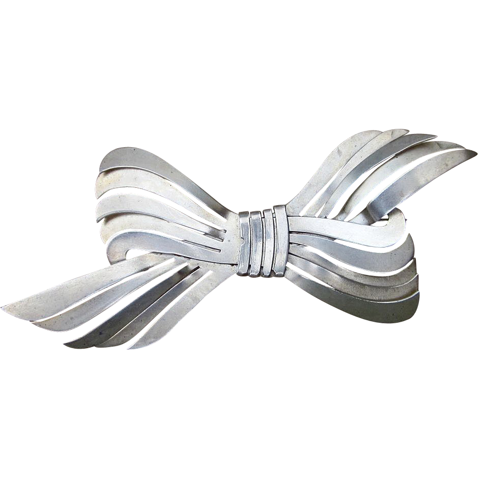 Large Early Sterling Vintage Bow Broach