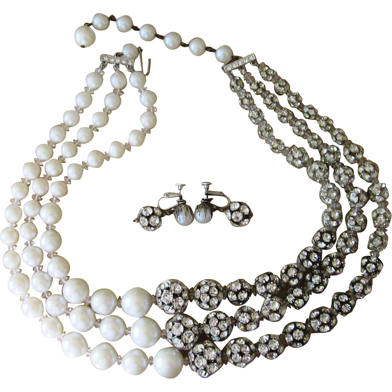 Jonne'- Monumental Faux Pearl and Rondel Necklace and Earrings