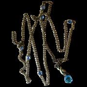Muff Chain 52 Inches Blue Bezel Stations Sautoir