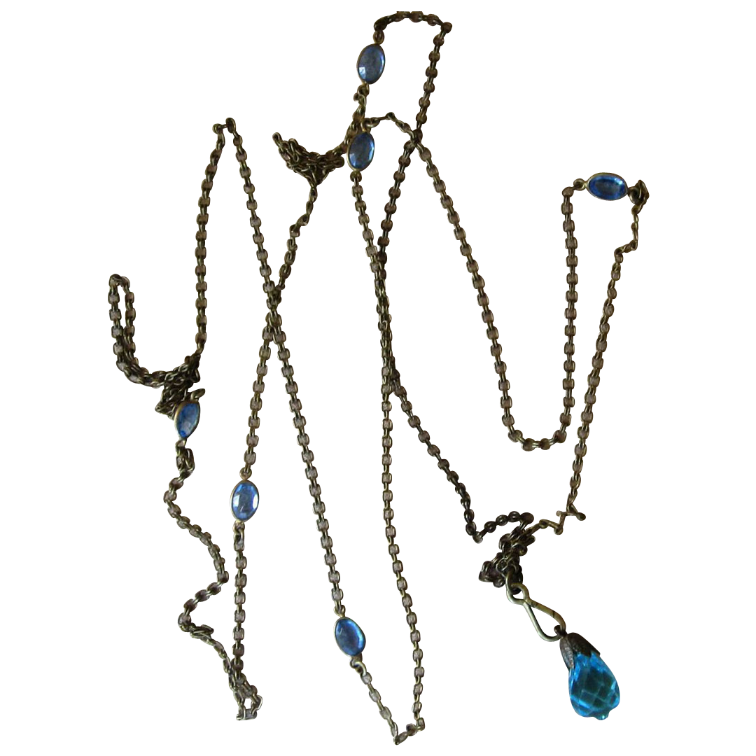 Muff Chain 52 Inches Blue Bezel Stations Sautoir
