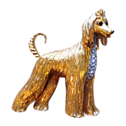 Jomaz Large Figural Signed Vintage Dog  Brooch