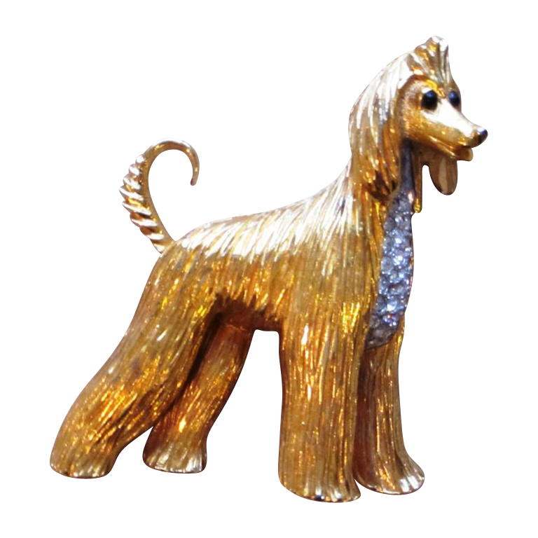 Jomaz Large Figural Signed Vintage Dog  Brooch