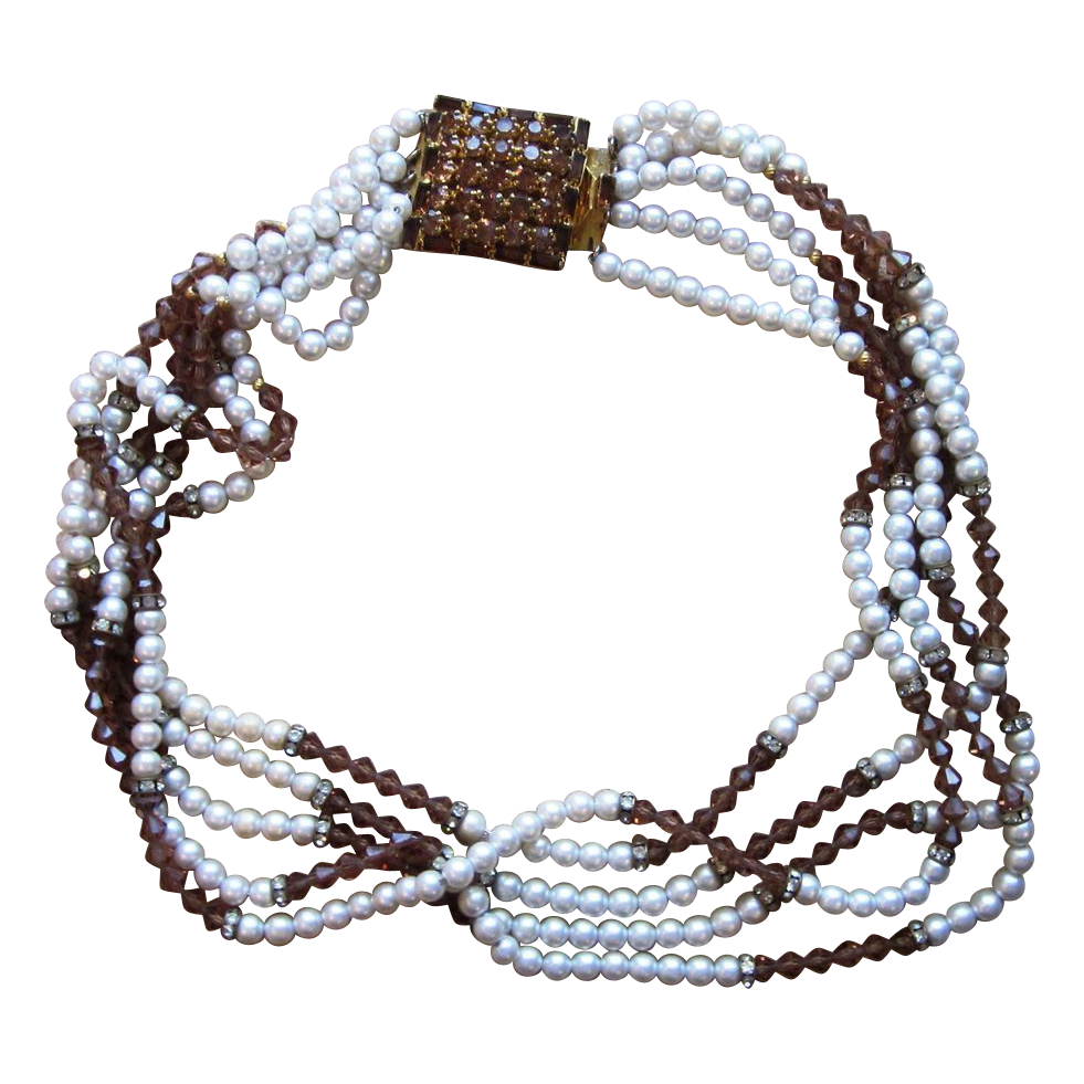 HOBE- Stunning and Rare 5 Strand Signed Vintage Necklace