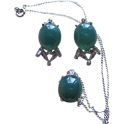 Panetta- Faux Jade and Rhinestone Pendant Necklace and Earrings