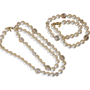 Marvella Two Faux Pearl  Signed Vintage Necklace- old stock