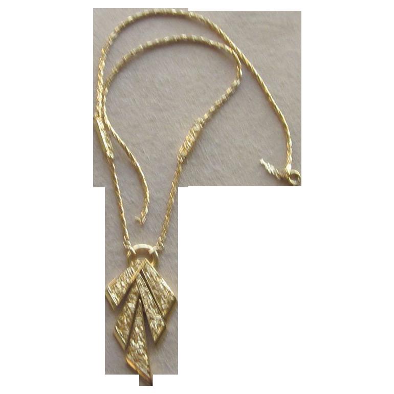 Trifari Signed Vintage Mod Pendant Necklace