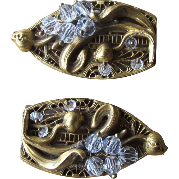 Art Nouveau Wired Vintage Dress Clips