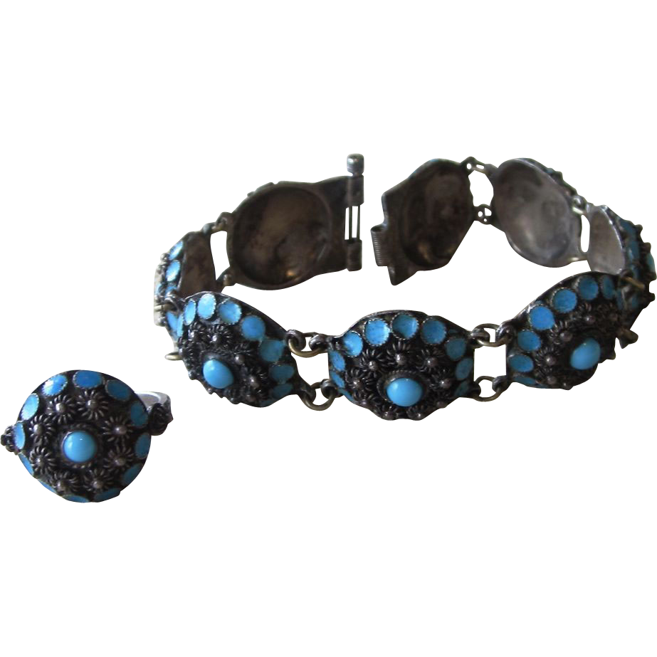 Exotic Enamel and  Turquoise Vintage Bracelet and Ring