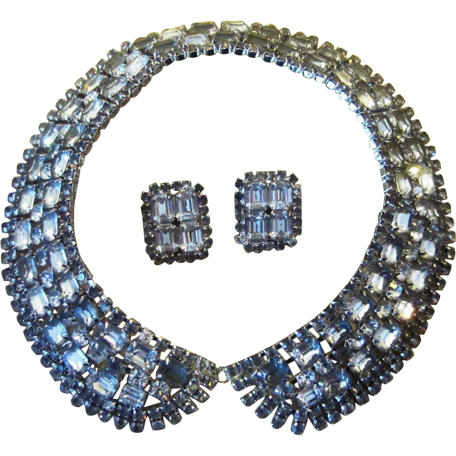 Extraordinary Collar Rhinestone Vintage Runway  Necklace and Earrings