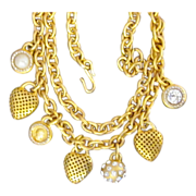 Linda Levinson Designer Vintage Belt or  Runway Necklace with Charms