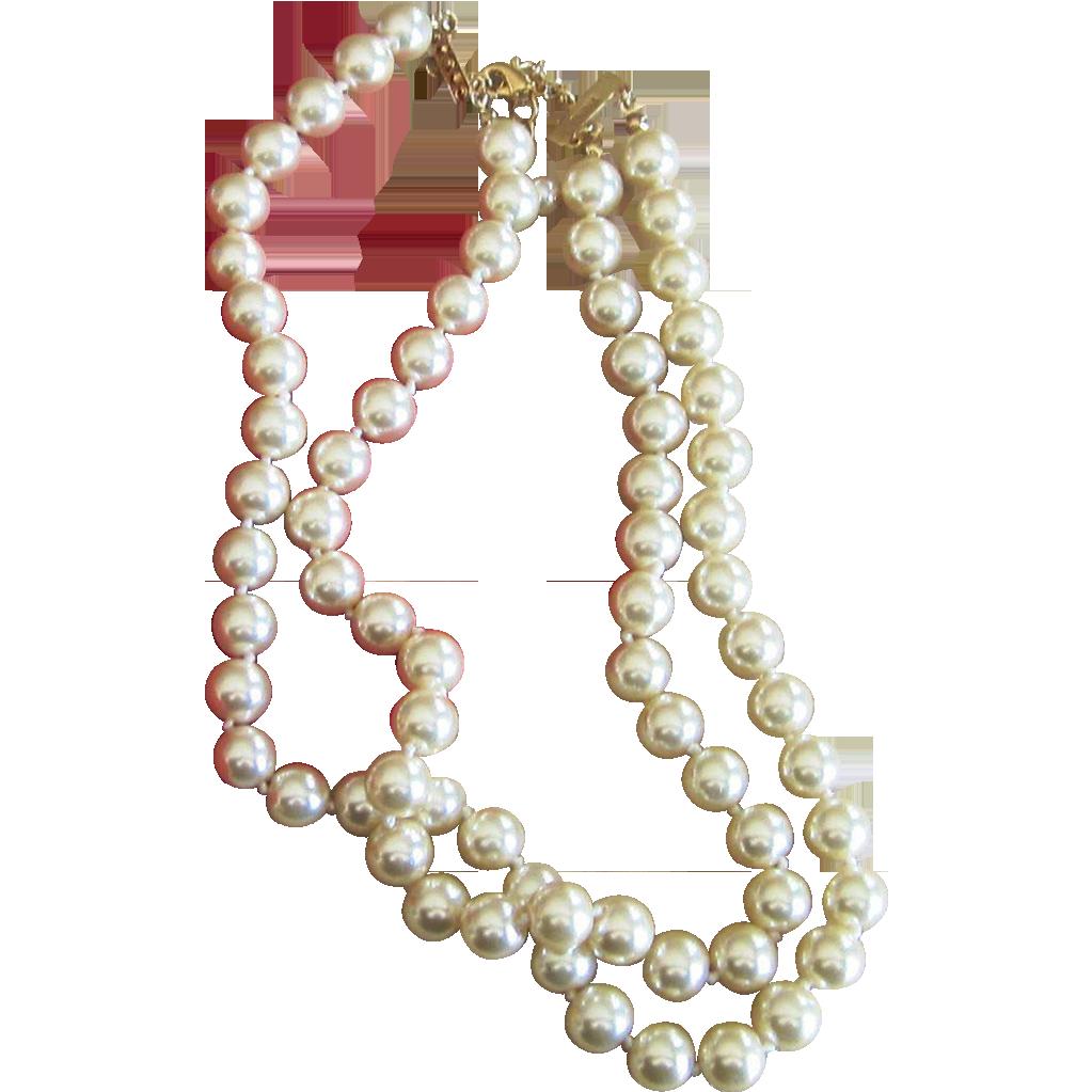 Kenneth Jay Lane K.J.L. Faux Vintage Pearl Necklace