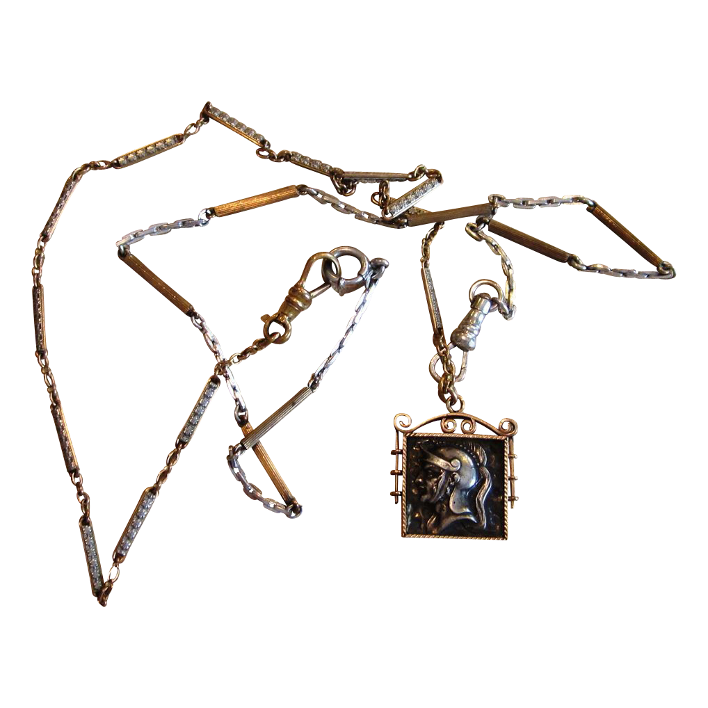 Victorian Watch Chain Sterling Necklace with Unique Fob